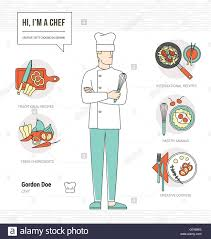 Chef Skills Resume Professional Chef Infographic Resume And Skill And Thin Line Male