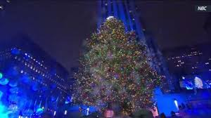 rockefeller center christmas tree lit at ceremony