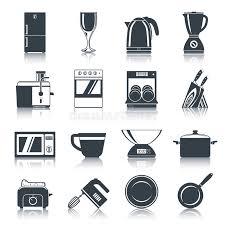 appareils de cuisine noir d icônes d appareils de cuisine illustration de vecteur