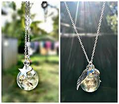 necklace pendant gift box images Twin set silver angel wing and star dandelion sterling silver jpg
