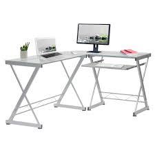 Glass Topped Computer Desk Techni Mobili L Shaped Tempered Glass Top Computer Desk With
