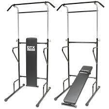 dtx fitness power tower dip station sit pull press chin up bench