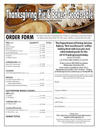 thanksgiving pie baked goods sale 2017 dining services
