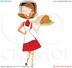 vintage thanksgiving clipart clipart of a retro vintage black and white housewife carrying a