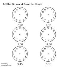 tell the time worksheet and draw the hands teacher resources