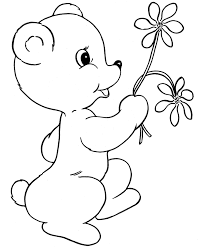 little bear with flowers valentines coloring pages valentine