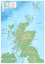 Geographic Map Of Europe by Large Detailed Physical Map Of Scotland Scotland United