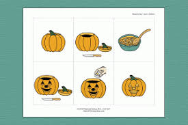 pumpkin carving sequencing activity speech therapy ideas