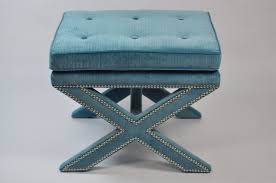bar stools fno teal ottoman x base velvet mecox gardens round