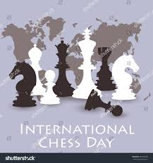 congratulation poster chess background international chess day card stock vector