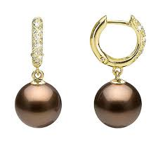 small diamond hoop earrings chocolate tahitian pearl and diamond hoop earrings 10 0 11 0mm