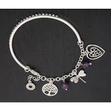 silver plated charm bracelet images Equilibrium silver plated charm bracelet amethyst png