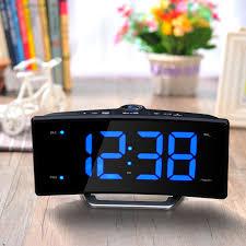 clock radio with night light 2017 fashion led projection mirror electronic clock radio night