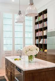 Lighted Glass Kitchen Cabinet With Glass Shelves Transitional - Glass shelves for kitchen cabinets