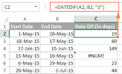 Image result for find date difference in excel