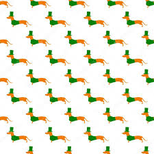 dachshund wrapping paper pattern with dachshund in st patricks day suit stock vector