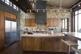 natural kitchen design with cool lighting ideas and fine stone