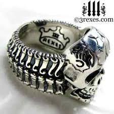 mens skull wedding rings silver skull biker ring bones 3 rexes jewelry