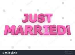 words just married different shades pink stock illustration