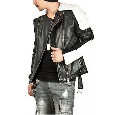 mens moto jacket padded shoulder black leather moto jacket