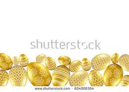 gold easter eggs gold easter eggs pattern on white stock vector 604006364