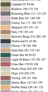 names of paint colors as delivered by a neural network