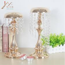 wedding candelabra metal delicate gold plated candle holder with crystals wedding