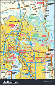 Map Of Jacksonville Florida by Jacksonville Florida Area Map Stock Vector 151046309 Shutterstock