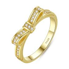 Wedding Rings Women by Sparking Bow Pandora Style Rose Gold Rings With Cubic Zirconia
