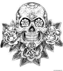 pretty sugar skull and roses on back