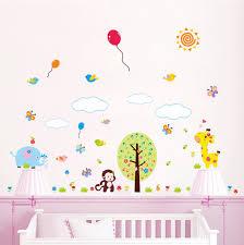 stickers pour chambre de bebe mignon animaux zoo singe papillon soleil accueil decal wall sticker