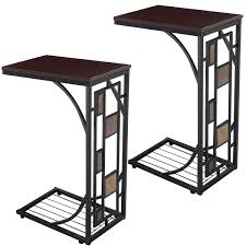costway 2pcs coffee tray side sofa table ottoman couch console