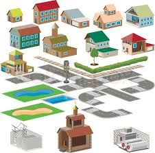 set of icons city map with the national team dear stock vector