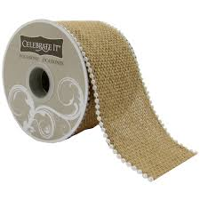 burlap ribbon 2 5 burlap beaded wire ribbon by celebrate it occasions