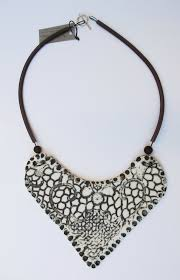 bib necklace black images Unique porcelain bib necklace black and white ceramic jewelry jpeg