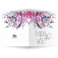 pastel watercolor floral thank you card