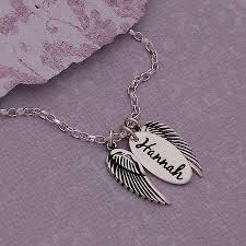 Silver Name Necklace Handmade Personalised Silver Name Necklace With Angel Wings By