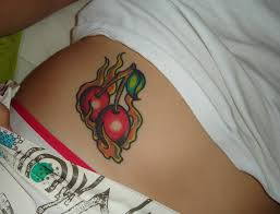 11 cherry tattoos on hip