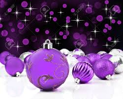 purple decorative christmas ornaments with star background stock