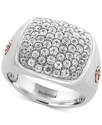 sapphire studios black moissanite white effy collection men u0027s white sapphire cluster ring 2 ct t w in