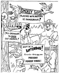 smokey the bear coloring pages eson me