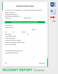 incident report form template word sle incident report 16 documents in pdf word
