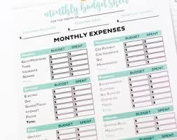 budget worksheet etsy