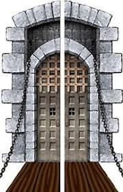medieval dungeon castle drawbridge door halloween scene setter