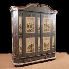 Antique German Display Cabinet Antique German Painted Marriage Armoire In Original Paint C 1823