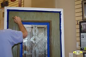 faux painting a fiberglass door with color and woodgrain the