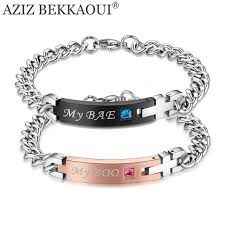 stainless steel bangle charm bracelet images Drop shipping my boo my bae stainless steel bracelet matching jpg