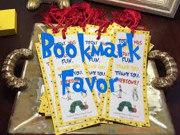 storybook themed baby shower bookmark favor pink glitter pumpkins