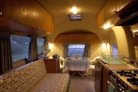 Airstream Custom Interiors Luxury Airstream Trailer Interior With Comfortable Leather Sofa