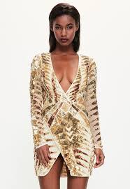 embellished dress peace gold embellished wrap dress missguided